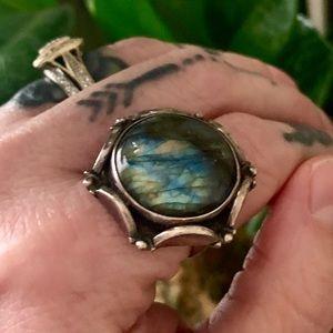 Vintage labradorite 925 sterling ring